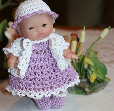PDF PATTERN Crochet 5 inch Berenguer Baby Doll Dress Set with Short Jacket