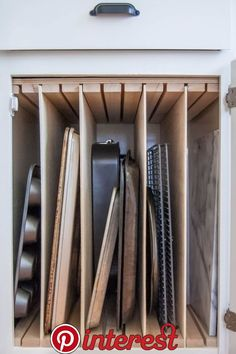 Here's How Hidden Cabinet Hacks Dramatically Increased My Kitchen Storage - - Behind-the-doors ways to make the most of your current kitchen. Small Kitchen Pantry, Pantry Cupboard, Diy Kitchen Storage, Cute Kitchen, Kitchen Cabinet Organization, New Kitchen Cabinets, Organization Ideas, Kitchen Ideas, Kitchen Decor