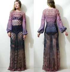 fa53bf1c1c RESERVED    Crochet Dress VINTAGE LACE Purple Plum Ombre Puff Sleeve Maxi  Sheer Spider Web Witch Gypsy Bohemian Hippie Handmade xs-s
