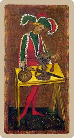 Cary-Yale Visconti Tarot - The Magician -  one of the earliest tarot decks, from Italy, 1450s