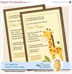 ON SALE Neutral Jungle Giraffe Baby Shower by AllPetsCherished, $10.00