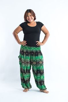 Plus Size Paisley Women's Harem Pants in Green