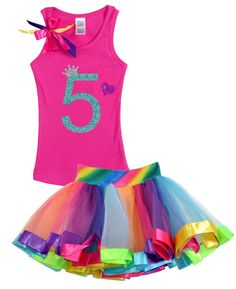 Girls Birthday, Rainbow Tutu, Princess, Rainbow Party, #5,Birthday Party, 5th Birthday, Party Dress, fifth  Birthday, Heart, Bling
