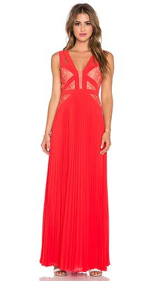 BCBGMAXAZRIA Pleated Maxi Dress in Brigth Poppy | REVOLVE