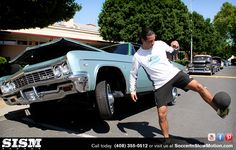 Louie Mata from Soccer In Slow Motion hanging with the Low Riders.