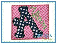 Monogram picture frame glass applique name or machine embroidery