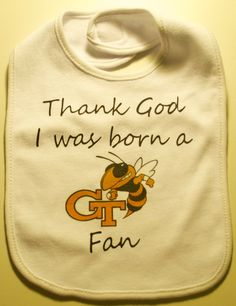Awesome gift baby gift for the soon to be Tech Fan. Custom made baby bib shows that your baby has team spirit. Perfect gift for new births, baby
