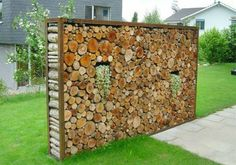 You want to build a outdoor firewood rack? Here is a some firewood storage and creative firewood rack ideas for outdoors. Garden Fencing, Garden Art, Garden Design, Garden Privacy, Outdoor Projects, Garden Projects, Outdoor Art, Outdoor Gardens, Outdoor Living