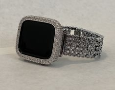 Black Apple Watch Band, Apple Watch Bands Fashion, Silver Apples, Apple Watch Accessories, Lab Diamonds, Crystal Rhinestone, Crystal Diamond, Large Crystals, Bling