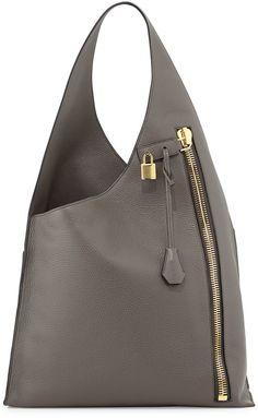 Tom Ford Alix Zip Hobo Bag, Dark Gray
