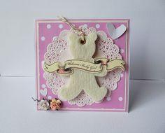 Carte double naissance / félicitations fille rose - ourson - et son enveloppe : Cartes par creations-carterie