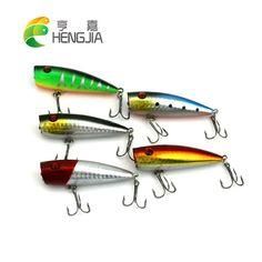 HENGJIA 7CM 9G #6hooks Laser Reflective Popper Fishing Lures Top Water Vibration wobblers artificial crankbaits pesca swimbaits #Affiliate