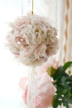 Beautiful Ribbon Work Ball Ornament Handmade by Jennelise Rose