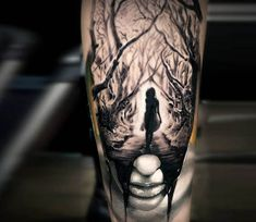 Morph face tattoo by Michael Taguet
