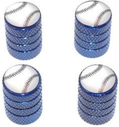 """Amazon.com : (4 Count) Cool and Custom """"Diamond Etching Baseball Top with Easy Grip Texture"""" Tire Wheel Rim Air Valve Stem Dust Cap Seal Made of Genuine Anodized Aluminum Metal {Jewel Toyota Blue and White Colors - Hard Metal Internal Threads for Easy Application - Rust Proof - Fits For Most Cars, Trucks, SUV, RV, ATV, UTV, Motorcycle, Bicycles} : Sports & Outdoors"""