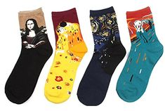 DZSbestdeal Womens 4 Pairs or 3pairs Cotton Colorful Patterned Crew Socks * More info could be found at the image url.