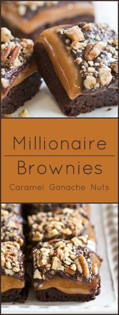 Moist brownies layered with caramel, ganache and nuts. Moist brownies layered with caramel, ganache and nuts. Mini Desserts, Chocolate Desserts, Easy Desserts, Delicious Desserts, Yummy Food, Healthy Desserts, Gourmet Desserts, Chocolate Cream, Plated Desserts