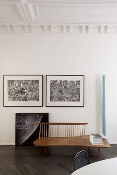 The bench / table is amazing, along with the prints.  Modern with prewar ceilings Jean-Marc Palisse  