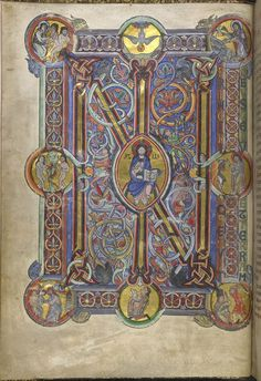 IN monogram at the beginning of Genesis, with Christ in Majesty, Netherlands (Belgium, near Leuven), 1148, Additional 14788, f. 6v