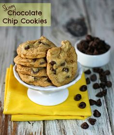 Skinny Chocolate Chip Cookies - just 83 calories or 2 Weight Watchers points each! www.emilybites.com