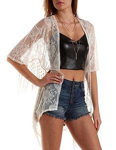 Fringe Trim Lace Kimono #lace #kimono