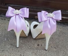 Wedding Shoe Clips,Bridal Shoe Clips,  Rhinestone Shoe Clips, Lilac MANY COLORS, Satin Bow Shoe Clips, Clips for Wedding Shoes, Bridal Shoes by ShoeClipsOnly on Etsy