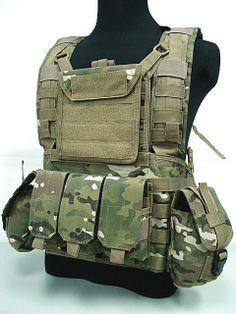 Airsoft Molle Canteen Hydration Combat RRV Vest Multi Camo