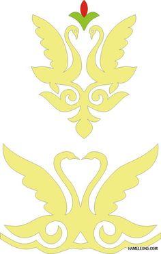 Казахский орнамент в векторе - Лебедь