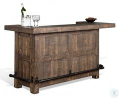 Homestead 2 Rustic Bar with Wine Glass Storage by Sunny Designs at Bennett's Furniture and Mattresses Home Bar Rooms, Home Bar Sets, Home Wet Bar, Diy Home Bar, Bar Table Sets, Bars For Home, Small Home Bars, Home Pub, Diy Bar