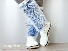 Women crochet boots pattern jute rope soles rope by Crochet Boots Pattern, Crochet Baby Booties, Crochet Shoes, Crochet Patterns, Crochet Ideas, Fuzzy Boots, Yarn Store, Knitted Slippers, Basic Crochet Stitches
