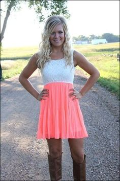 Adorable white lace and bright coral dress!