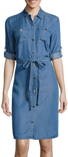 LIZ CLAIBORNE Liz Claiborne 3/4-Sleeve Denim Shirtdress