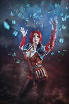 This cosplay on Gwent Card Triss Merigold  Sorry i dont know who is did this art :С MUA\Costume byElena Samko Follow me on facebookwww.facebook.com/elenasa...