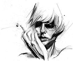 art, ben tour , black and white, cigarette, drawing