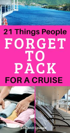 21 Things People Forget to Pack for a Cruise (and regret) - Life Well Cruised If you're going on a cruise, make sure to pack these items! These are 21 things that people often forget to pack for their cruise, and end up regretting. Packing List For Cruise, Cruise Travel, Cruise Vacation, Vacation Packing, Cruise Checklist, Vacation Outfits, Bermuda Vacations, Honeymoon Cruises, Msc Cruises