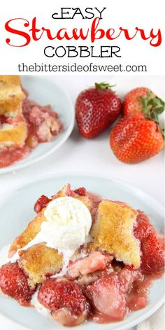 Easy Strawberry Cobbler! With an easy buttery crust mixed with fresh strawberries, this 6 ingredient dessert is perfect for summer! The Bitter Side of Sweet Strawberry Cobbler, Strawberry Recipes, Fruit Recipes, Sweet Recipes, Dessert Recipes, Cooking Recipes, Dessert Ideas, Chicken Recipes, Baked Strawberries