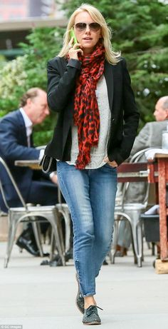 Naomi Watts in a casual blazer and bright Lily & Lionel scarf