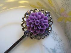 plum dahlia and swarovski crystal filigree bobby pin