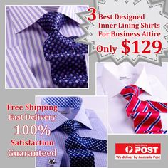 2 Bright Stripes Plus 1 White Formal Shirts Package With Free Tie Smar Business Shirts, Business Dresses, Business Attire, White Collar Dress Shirt, Shirt Packaging, Cutaway Collar, Designer Suits For Men, French Cuff, Create Shirts