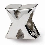 Sterling Silver Letter X Bead Charm