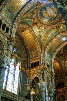 Basilica of Notre-Dame de Fourvière in Lyon, France.Most Beautiful Church Ceilings Photos | Architectural Digest