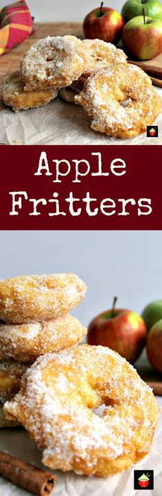Slices of apple in a crispy light batter then coated in cinnamon sugar. Served warm with a drizzle of syrup, honey or a blob of ice cream. makes for a perfect dessert! Quick and easy recipe too! Donut Recipes, Fruit Recipes, Fall Recipes, Sweet Recipes, Dessert Recipes, Cooking Recipes, Recipies, Quick Easy Desserts, Quick Easy Meals