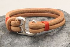 Men's leather bracelet Natural leather multi strand men's bracelet with silver plated hook clasp