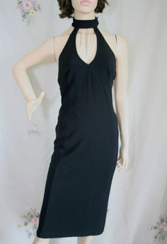 Karen Millen Black Silver Chains Backless Dress Size 12 New with Tag Rare