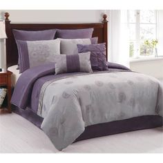 Amelle Purple & Grey 8 Piece King Comforter Bed In A Bag Set