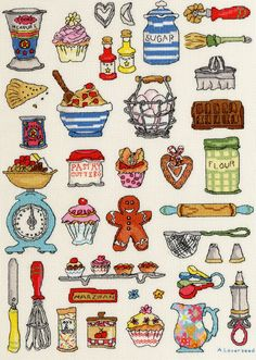 """Bothy Threads Hobbies Series - """"Baking"""" Counted Cross Stitch Kit 14 count aida"""
