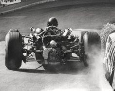 1966. Monaco Grand Prix. Jochen Rindt going wide at Virage de la Gare in his Cooper-Maserati T81