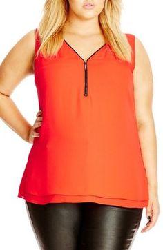 City Chic Zip Trim V-Neck Top (Plus Size) - Shop for women's tops