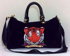 BETSEY JOHNSON Betseyville Tiger Roses Black Large XL Quilt Weekender Duffel Bag