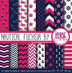 Digital Paper Navy Nautical Fuchsia Marine Girly by LagartixaShop, $4.00
